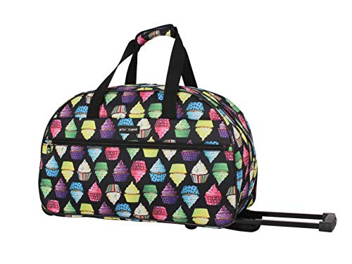 Betsey Johnson Designer Carry On Luggage Collection - Lightweight Pattern 22 Inch Duffel Bag- Weekender Overnight Business Travel Suitcase with 2- Rolling Spinner Wheels (Cupcake)