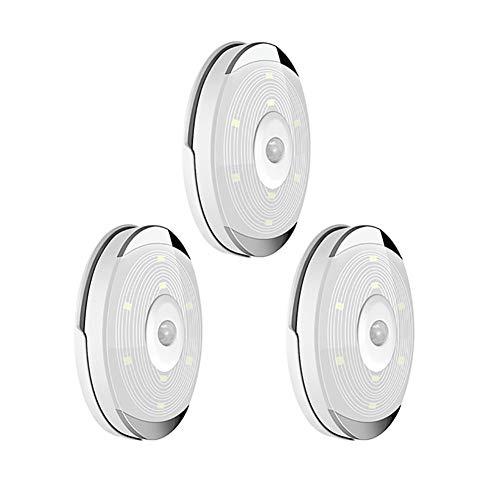 YXMG Características de Las Luces del Sensor de Movimiento PIR Sensor de Movimiento LED Luces de la Cocina de la batería Debajo de la lámpara del gabinete Noche Escaleras/Armario,3lamp