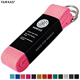 Yamkas Cinturon Yoga Correa | 1.8M - 3M | Correas Yoga Estiramiento | Yoga Strap Belt 100% Algodon | Rosa