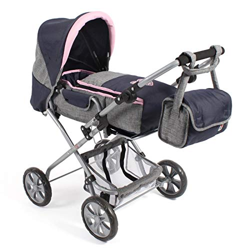 Bayer Chic 2000 Bambina 586T26 Combi Doll's Pram for Baby Dolls up to 52 cm Including Removable Carry Bag and Changing Bag Melange Grey/Navy