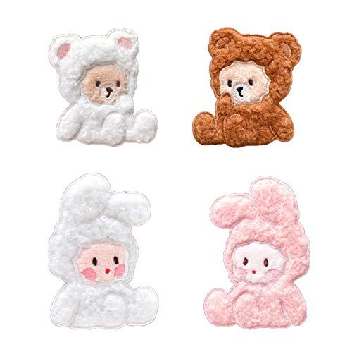 Multii-dibujos animados para planchar en parches bordados, se puede pegar directamente, duradero y fácil de pegar o coser a la ropa, bolsos, cuadernos, teléfonos para niños, damas (Conejitos y osos)