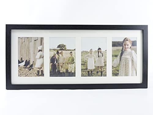 Marco foto múltiple con paspartú para collage de fotos 10x15 para mesa o pared (4 FOTOS, NEGRO)