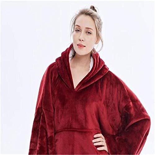 TSYFFF Suéter con Capucha de Manta, de Gran tamaño súper Blando cómodo Caliente Gigante con Capucha, Ajuste for Adultos Hombres Mujeres Adolescentes (Color : Wine Red)
