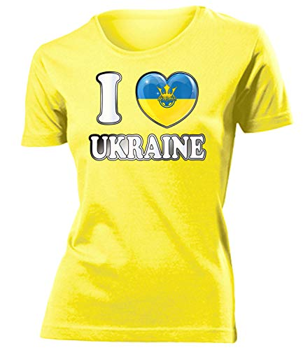 Ukraine ??????? Fan t Shirt Artikel 5010 Fuss Ball World Cup Jersey EM 2020 WM 2022 Trikot Look Flagge Fahne Team Frauen Damen Mädchen XXL