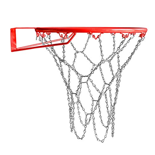TUXI - Rete per pallacanestro da basket, in metallo zincato, 12 ganci (collegati con catena in acciaio), catena di ricambio per pallacanestro