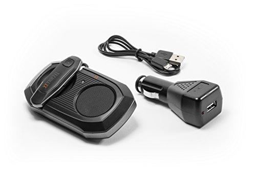 Technaxx 4576 Bluetooth Car Kit mit In-Ear Kopfhörer BT-X30, KFZ-Bluetooth Freisprecheinrichtung mit abnehmbarem schwarz