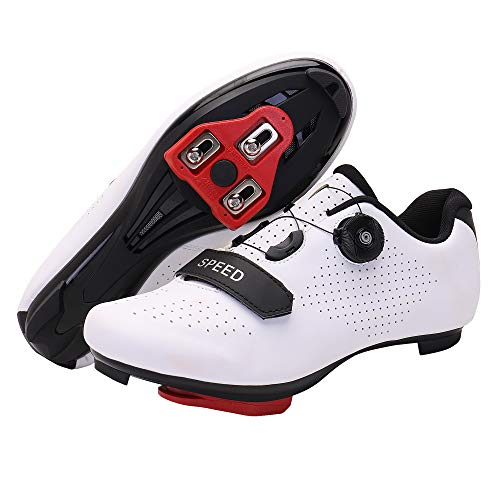 Men's Cycling Shoes, Compatible with Indoor Peloton Mountain Road Bike Peleton SPD Shoes for Men Delta Cleats Clip to Lock Shimano Pedal (White, 10)