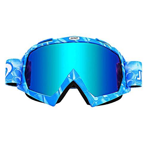 Motorradbrille Reitbrille Anti-Beschlag AntiCrash Motocross Brille für ATV Off Road Racing Motorrad Ski Snowboard Brille (blau)
