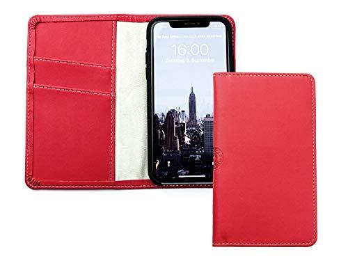 "DELMON VARONE - Personalisierbare Hülle kompatibel mit iPhone 7 ""Eco Apple Leather"" Rot, Recycling Öko Apfel Leder Handyhülle mit Geld- & Kartenfach, Damen Ökoleder Handy Klapphülle personalisiert"