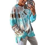 Suéter De Otoño E Invierno para Mujer, Estampado De Leopardo Suelto De Poliéster, Mangas Largas, Ropa De Mujer Cálida con Cuello Redondo Y Teñido Anudado para Mujer