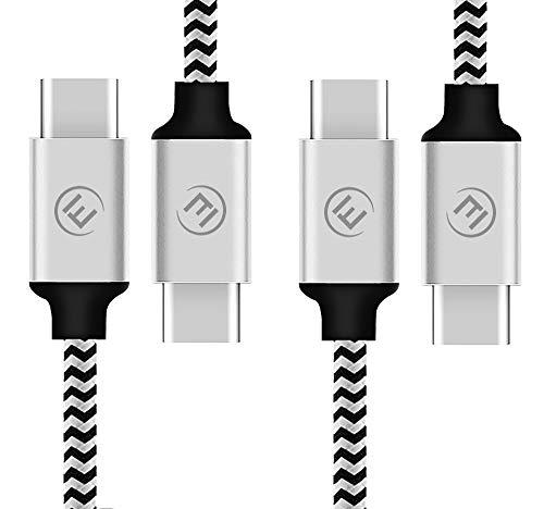 EVOMIND USB C auf USB C Kabel in Nylon [2x1M] USB Type C 3.1 Gen1 Ladekabel und DatenKabel für Samsung Galaxy S8 / S9 / Note 8 / Tab S3/S4, Huawei P10 / P20, und andere Typ-C-Geräte - 2x1M Silber