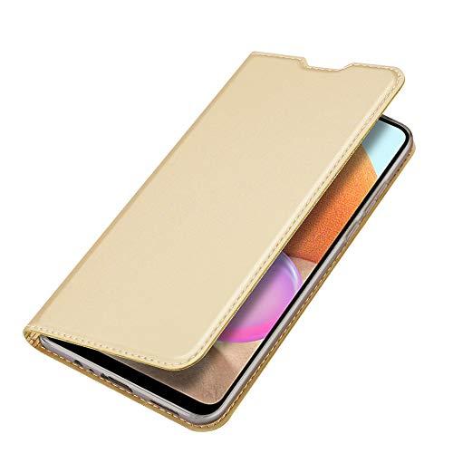 Funda para Samsung Galaxy A32 4G Carcasa de Teléfono de Cuero PU Premium Estuche Sedoso Ultrafino para Billetera con Tapa Magnética, Compatible con Samsung Galaxy A32 4G, Oro