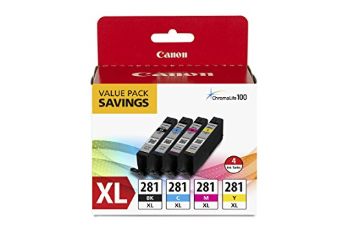 Canon CLI-281 XL Black, Cyan, Magenta and Yellow 4 Ink Pack Compatible to TR8520, TR7520, TS9120 Series,TS8120 Series, TS6120 Series, TS9521C, TS9520, TS8220 Series, TS6220 Series