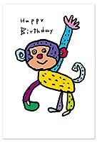 小西慎一郎 ベニヤアニマルポストカード/メッセージカード[Happy Birthday アニマル/サル]