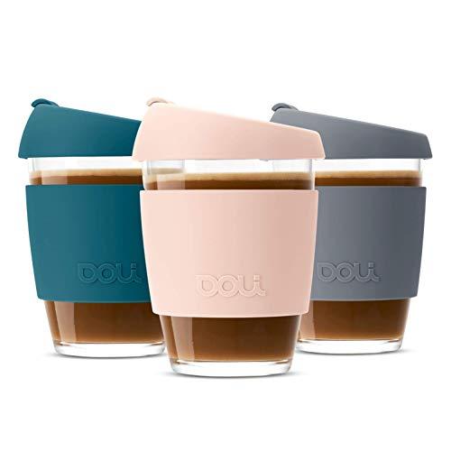 Doli Glas Kaffeebecher to go 340ml I spülmaschinengeeignet und dicht I Kaffee Tee nachhaltig unterwegs I Coffee to go Becher aus Glas I wiederverwendbarer Kaffeebecher Glas (Blush)