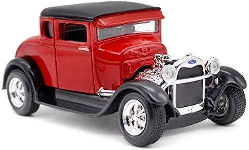 1:24 Modelo de Coche Ford 1929 Coche clásico Chico de simulación de aleación de Coche Colección Modelo Regalo Regalo/niña (Color: Rojo, Tamaño: 16CM * 7.5CM * 7 CM) lalay