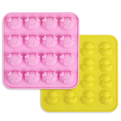 homedge Ente und Schwein-Silikonformen, Satz von 2 PCS Non-Stick Food Grade Silikonformen für Schokolade, Süßigkeiten, Gelee, Eiswürfel