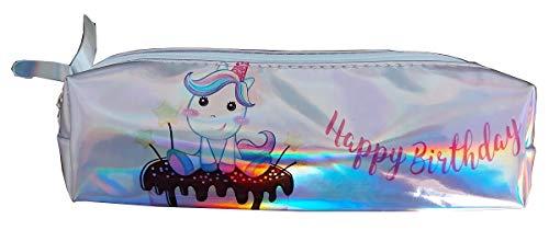 Estuche de lápices - feliz cumpleaños - escuela - oficina - bolsa de cosméticos - brillante - iridiscente - perlado - de - unicornio - niños - mujer - kawaii - modelo 3