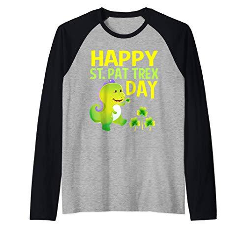 Camiseta del día de San Patricio, regalo de dinosaurio Rex Camiseta Manga Raglan
