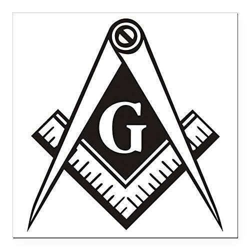 CafePress Masonic Emblem Square Car Magnet 3 X 3 Square Car Magnet, Magnetic Bumper Sticker