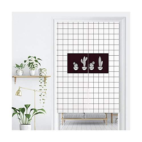 LIGICKY Cortina de Estilo japonés de Lino Grueso Noren, Cortina para Puerta, Separador de Espacios, tapisseri para Textiles del hogar, 85 x 120 cm, Negro y Blanco (Rejilla y Cactus)