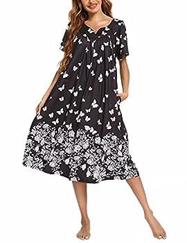 Plus Size House Coats Female With Pockets House Dress Old Lady Nightgown Grandma Pajamas Lounge Dresses Patio Sleepwear Mumus Lounge Wear Dress Night Shirts for Sleeping Cotton