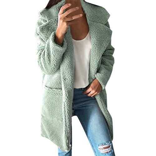 Damen Dicken Fleecejacke Freizeitjacke Winter Mäntel Warm Parka Outwear Plüsch Women Dufflecoat mit Pocket Coat Pullover URIBAKY