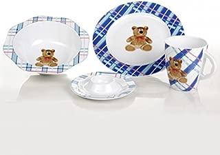 Cmielow Porcelain Child's Fine China Porcelain Dinnerware Set Teddy Bear Theme Hand Made in Poland