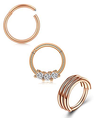 Mayhoop 18G Nose Septum Rings Surgical Steel rose gold 10mm Hinged Segment Clicker Rings Hoop Eyebrow Lip Rings Tragus Daith Helix Earrings Piercing Jewellery 3Pcs