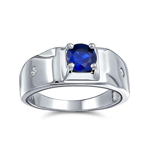 Bling Jewelry Solitario Redonda Azul Zafiro Simulado CZ Mens Anillo De Compromiso Pinky Anillo De Plata Esterlina Chapado Rodio