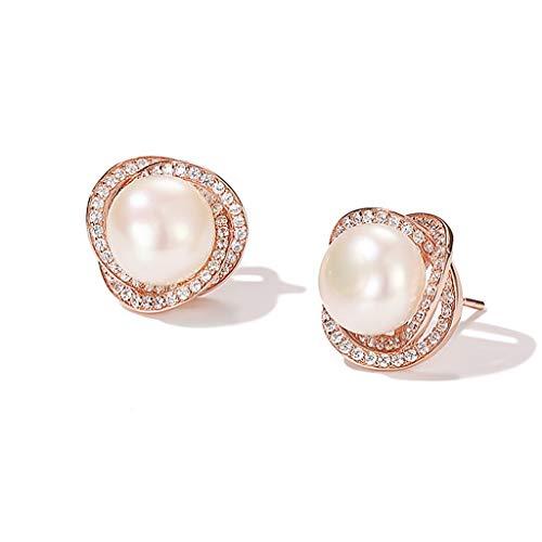 WENMENG2021 Pendientes de Diamantes 925 Ronda de la Bodas de Plata joyería de Plata-Pendientes-Pendientes Real Blanca cultivada de Agua Dulce Perla de Las Mujeres Pendientes Colgantes (Color : A)