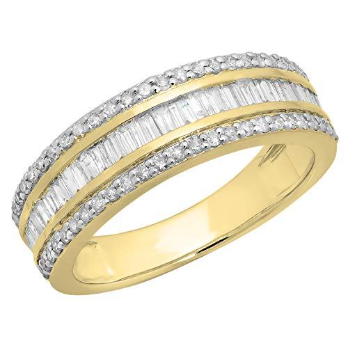 Dazzlingrock Collection 0.95 Carat (ctw) Round & Baguette White Diamond Mens Anniversary Wedding Band 1 CT, 10K Yellow Gold, Size 13