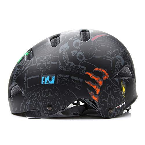 QIUBD Fahrradhelm Skaterhelm MTB BMX Erwachsene Jugendliche Rennrad Mountainbike Reithelm ?Fahrradhelm Einstellbarer Sicherheitsschutz Skateboarding Ski Snowboard (Black,M(55-59CM))