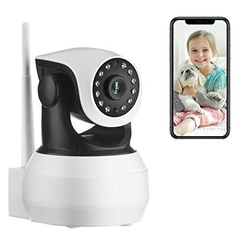 AINSS Cámara de vigilancia WiFi para Interiores cámara IP CCTV HD de 1080P Alarma de Empuje Control Remoto visión Nocturna por Infrarrojos PTZ de 360 ° detección de Movimiento (Cámara WiFi)