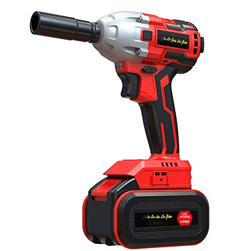 MIJPOJAN Electric Impact Wrench Cordless, Impact Wrench 980N.m High Torque with Battery Li-Ion 3200rpm Variable Speed with Fast Battery Charger1/2Electric Im