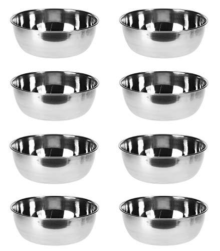 Unbekannt 8X kleine Schüsseln aus Edelstahl, stapelbar/Metall Servierschalen für Snacks, Dips, Dessert (8 pcs Ø 11 cm)