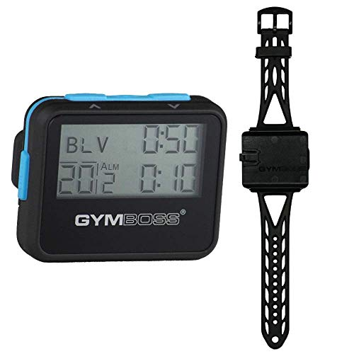 Gymboss Interval Timer and Stopwatch and Watchstrap - Bundle (Black w/Blue Buttons, One Size Fits All)