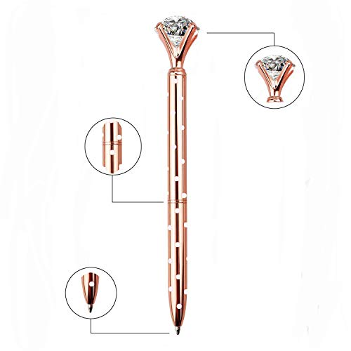 LONGKEY 3PCS Rose Gold With Dot Diamond Pens Large Crystal Diamond Ballpoint Pen Bling Metal Ballpoint Pen Office and School Including 3 Pen Refills … Photo #3