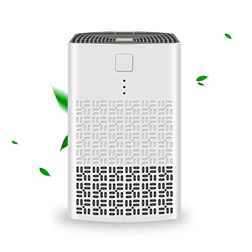 YUEMIDAMY Mini Portable Air Purifier Cleaner for Home Bedroom Office Desktop Baby Room Pet Room with True HEPA Air Purifier Filter,Mini HAPE Air Cleaner - Healthier, Safer and Quiet (Square, White)