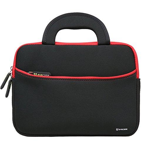 evecase Maletín para Tablet 9-10 Pulgadas Estuche Universal de Neopreno con manija para Tablet de 9' a 10.1' Pulgadas, Color Negro con Borde Rojo