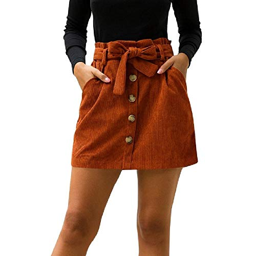 U/A nuevo arco faldas mujer pana altura cintura bolsillo botón arco falda elástica corta
