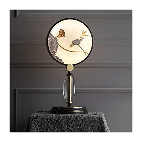 lámpara de mesita de noche Nueva lámpara de mesa china lámpara de noche de cobre cálida moderna minimalista loto loto decoración lámpara dormitorio sala de estar...