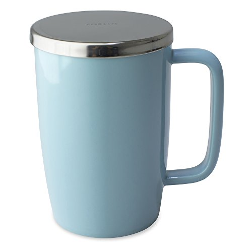 FORLIFE Dew Glossy Finish Brew-In-Mug with Basket Infuser & 'Mirror' Stainless Lid 18 oz., Turquoise
