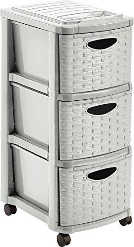 Mondex PLS6246-15 - Cassettiera a Torre con 3 cassetti e Ruote, in plastica, 29 x 38 x 66 cm, Plastica, Beige, 66 CM