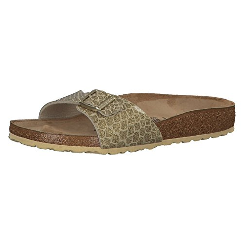 BIRKENSTOCK Damen Madrid Birko-Flor Pantoletten, Gr.-42 EU, Magic Snake Gold (1011755)