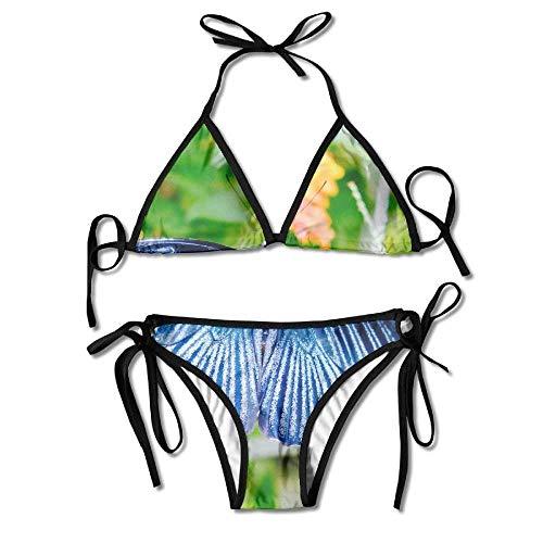 Eybfrre Costumi da Bagno Estivi da Bikini a Triangolo Blu-Verde-Farfalla-Pietra da Donna Costumi da Bagno a Triangolo Set da 2 Pezzi