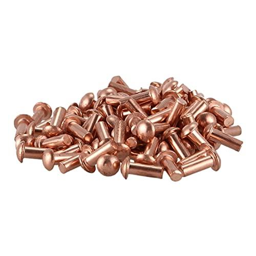 LVTONG Remaches 100pcs 3 * 8 mm Cabezal Redondo sólido Remaches de Cobre Sujetadores Tuercas remachables