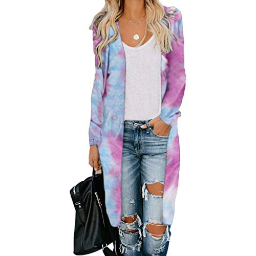Katenyl Chaqueta cortavientos estampada con bloques de color para mujer Abrigo largo cómodo informal de manga larga con bolsillos Europa y América L