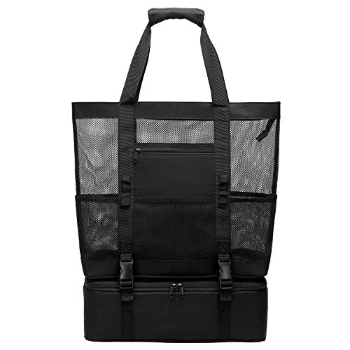 Beach Bag, F-color Large Capacity Mesh Bag with Detachable Cooler Bag, Black