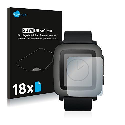 Savvies 18x Schutzfolie kompatibel mit Pebble Time Bildschirmschutz-Folie Ultra-transparent